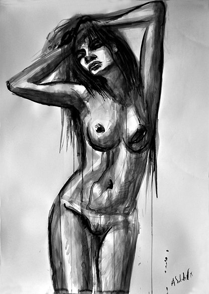 Nude Model with Long Hair, 2015