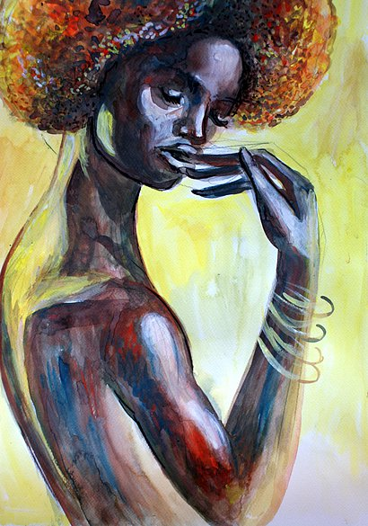 African girl with red hair, 2014