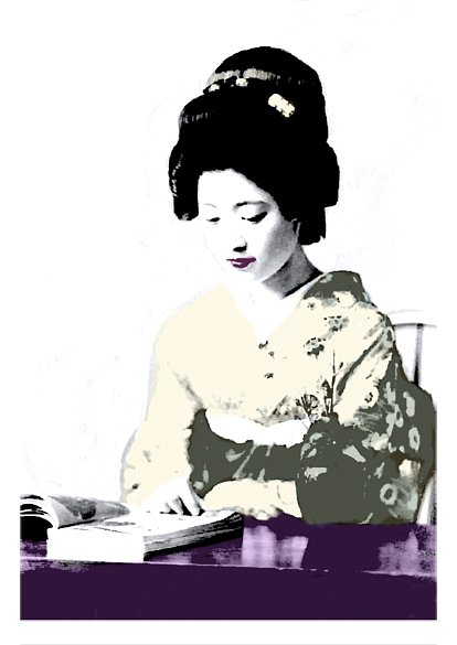 Japanese Geisha reading, 2015