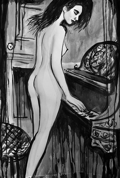 Nude Roman Playing Piano, 2016