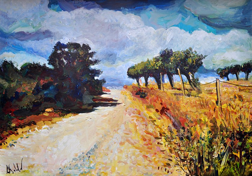 Autumn Road with olive Trees, 2017