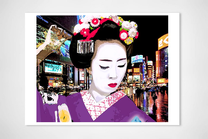 Geisha with flowers in tokyo, 2014