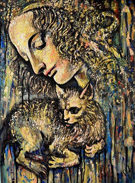Young Woman with cat, 2016